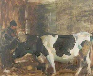 A Cow and a Figure in a Stable