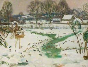 A Winter Scene at Castle House with Birds Feeding