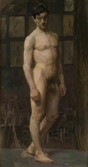 Study of a Standing Male Nude, Julian's Atelier