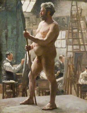 Study of a Male Nude in Julian's Atelier