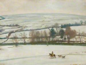 Winter at Withypool, Exmoor: A Winter Landscape, a Rider and Two Hounds in the Foreground