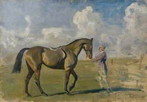 A Racehorse Held by a Groom