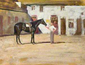 A Black Horse at Newmarket
