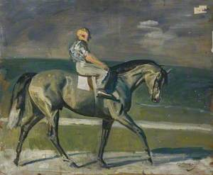 A Grey Racehorse with a Lad up