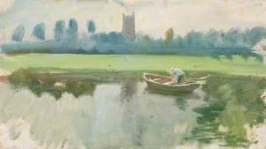The Stour at Dedham, with a Man in a Boat