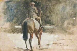A Lad Exercising a Racehorse