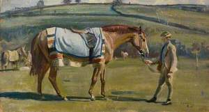 A Chestnut Racehorse Held by a Boy in a Landscape
