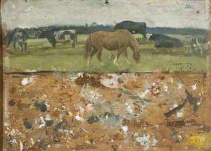 Study of a Horse and Bullocks Grazing