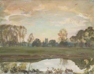 A Distant View of Dedham from the Stour at Sunset