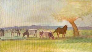 Cows and a Horse Beneath a Tree