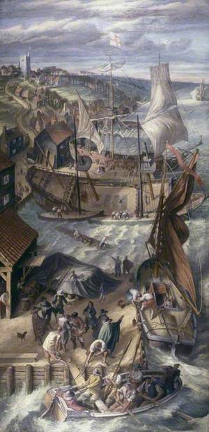 The Refitting of Admiral Blake's Fleet at Leigh, during the First Dutch War