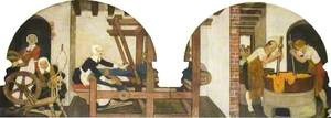 Huguenots Spinning, Weaving and Dyeing, 1690