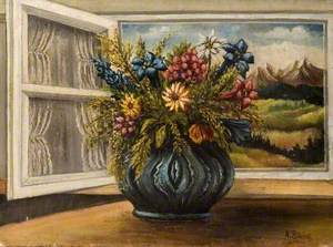 Vase of Flowers with Mountain View