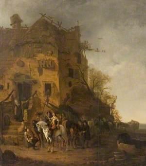 Horsemen Resting by a House