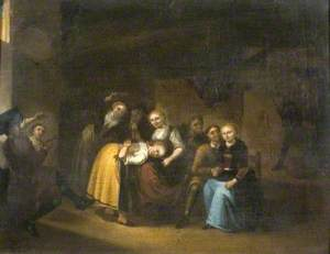'La main chaude', Dutch Party Playing Games in an Interior