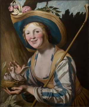 A Young Shepherdess Holding Pigeons in a Nest