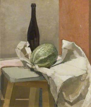 Still Life with Melon and Bottle