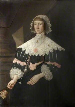 Portrait of a Lady with a Lace Collar Holding a Tulip
