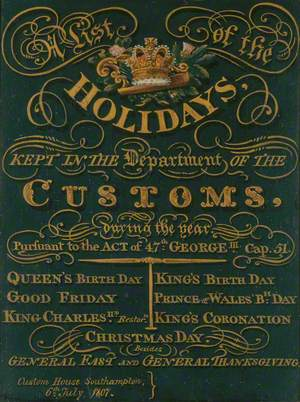A List of the Holidays Kept in the Department of the Customs during the Year