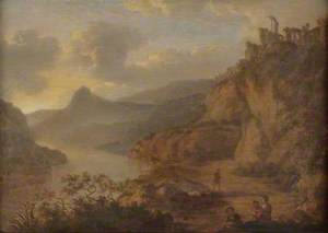 River Landscape with Ruins on a Cliff