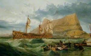 'Victory' Towed into Gibraltar after Trafalgar