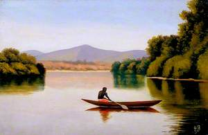 View on the Kwanga River with a Native in a Canoe