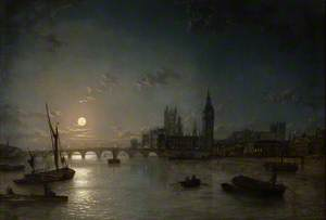 Houses of Parliament from the Thames by Moonlight