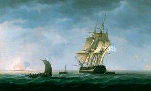 HMS 'Hindostahn' on Fire, Rosas Bay, 2 April 1804