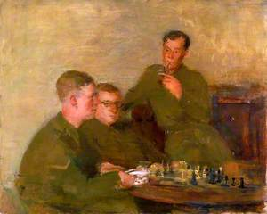 Three Soldiers Shortly to Leave for an Officer Cadet Training Unit Playing Chess