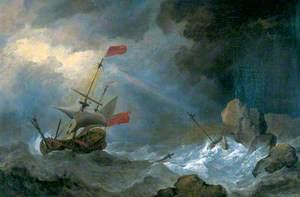 Man o' War in Distress off Rocky Coast