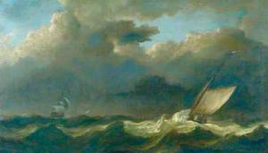Fishing Boat and a Man o' War in a Strong Breeze