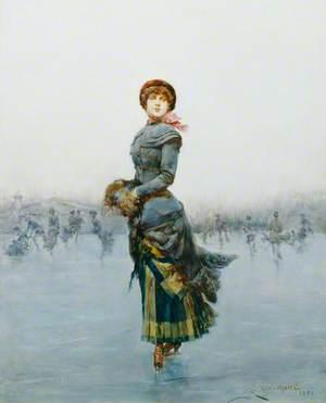 Lady Skating on Ice