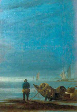 Seascape with Fishermen on a Beach
