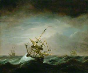 Dismasted Ship in Rough Sea