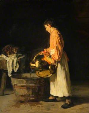 Domestic Scene, Boy with a Water Pitcher and a Cat