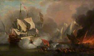Men o' War in Action: English Ship and Barbary Pirate Vessels