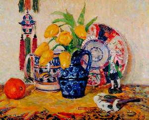 Still Life, Tulips in a Blue Jug