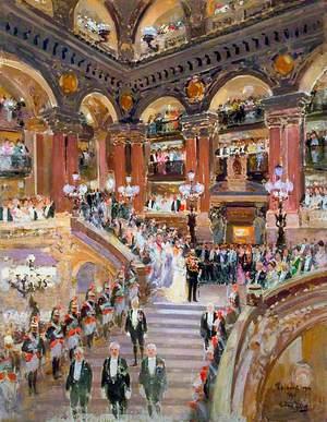 L'arrivée du Roi George V et de la Reine Mary à l'opéra, Paris, 22 avril 1914
