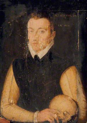 Portrait of a Man, Aged 24, with a Skull