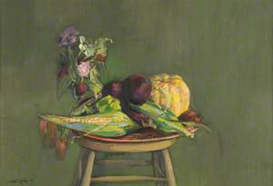 Still Life, Aubergines and Corn Cob