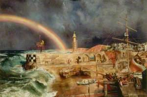 Coast Scene with a Rainbow