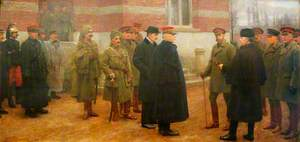 Merville, 1 December 1914, the Meeting of King George V and President Poincaré of France at the British Headquarters at Merville, France, on 1 December 1914