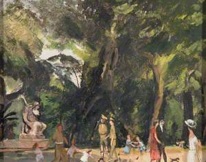 Troops Playing with Children, Borghese Gardens, Rome