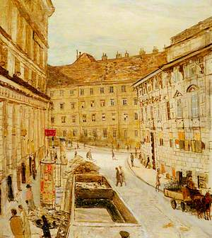 Fashionable Street in Vienna, Lobkowitzplatz Looking towards the Albertina, October 1945