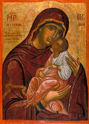 Madonna and Child (Icon with Panagia Glykofilousa): Virgin of Tenderness