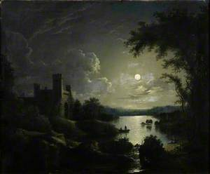 A Castle and Lake by Moonlight
