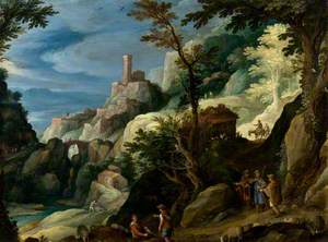 A Mountain Landscape with the Journey to Emmaus