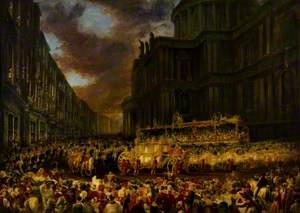 First State Visit of Queen Victoria to the City of London, November 1837, Passing St Paul's