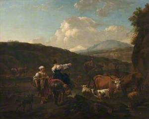 Landscape with Cattle and Figures at a Ford