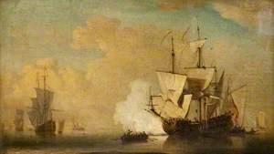 An English Ship Becalmed, Firing a Gun
